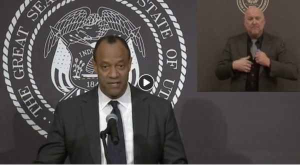 Byron Russell speaking at the Governor's press conference